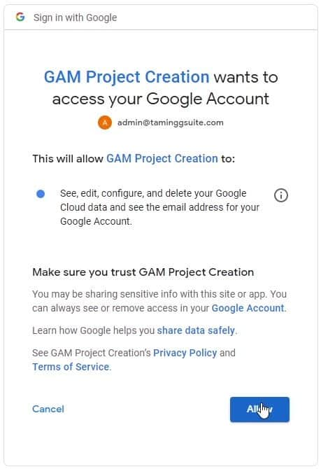 GAM Project Creation permissions