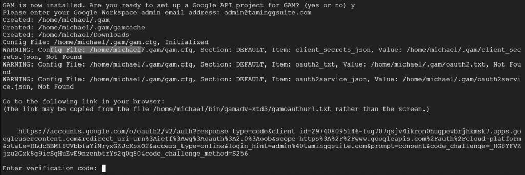 Go to the following link to authorise the GAM API