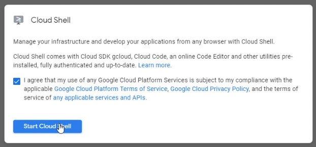 Google Cloud Shell -Accept Permissions
