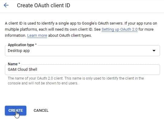 create oauth client id for the desktop app