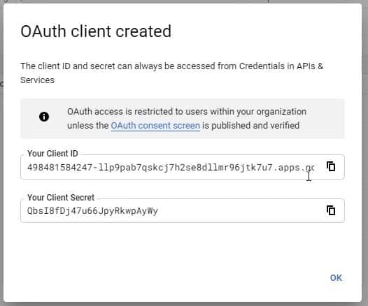 oauth client secret and client id