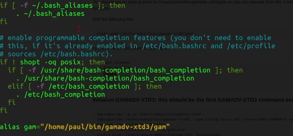 Check the bash for the GAM alias