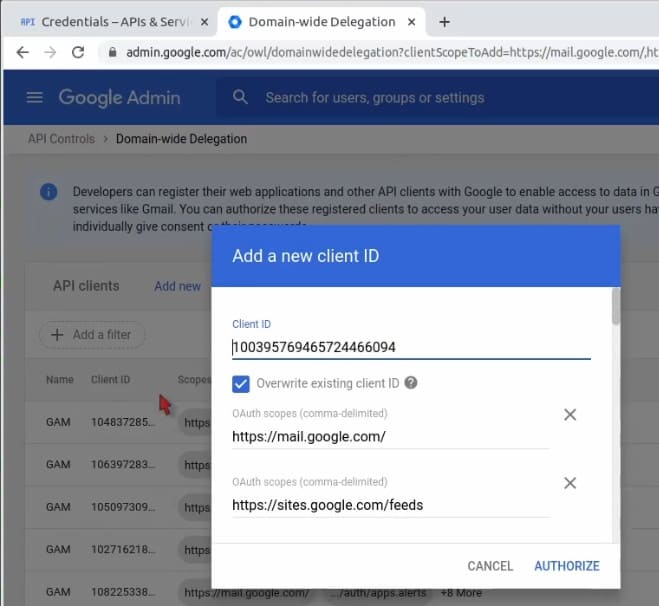 Add a new client ID to Google Workspace