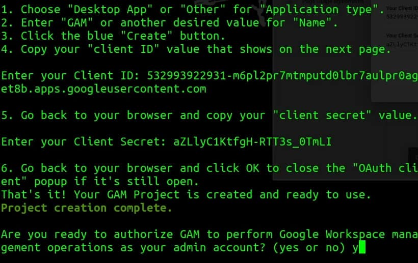 Authorise GAM to perform Google Workspace Management operations